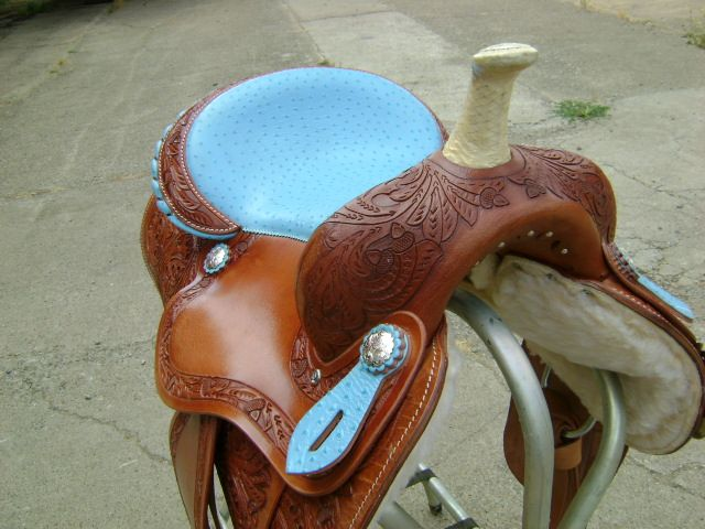 ULTIMATE 15 TURQUOISE WESTERN BARREL RACER RACING SHOW SADDLE