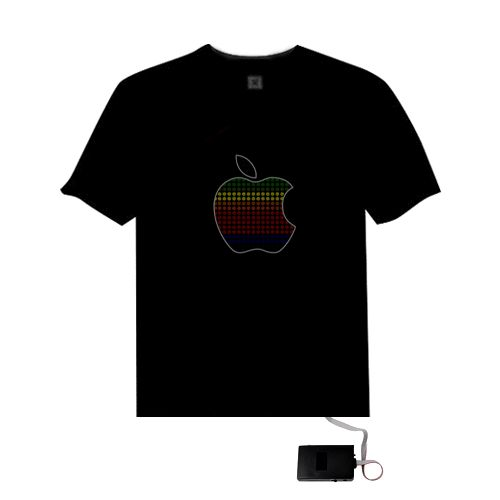 Music Sound Activated Light Up And Down LED Light EL T Shirt Apple